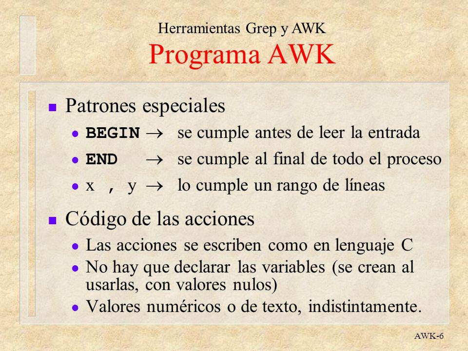 Programa AWK Patrones especiales Código de las acciones