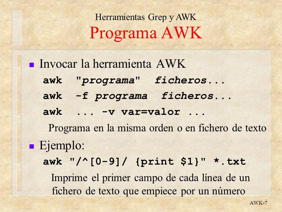 Programa AWK Invocar la herramienta AWK Ejemplo: