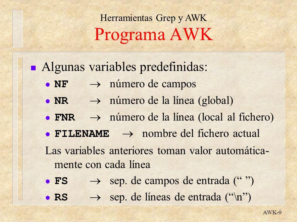 Programa AWK Algunas variables predefinidas: NF  número de campos