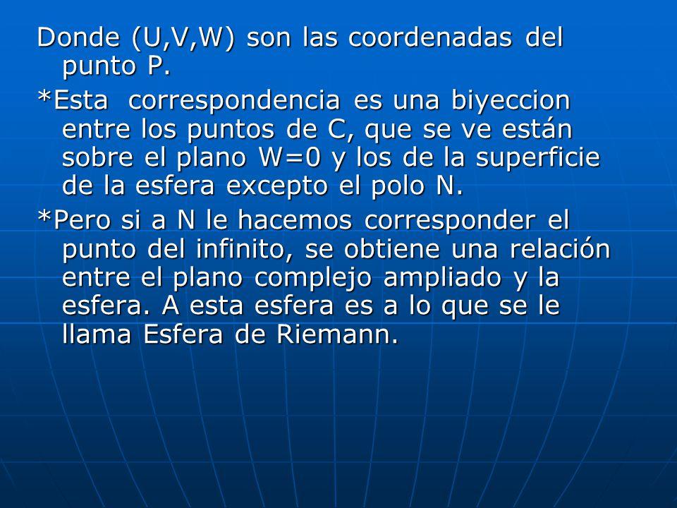 Donde (U,V,W) son las coordenadas del punto P.