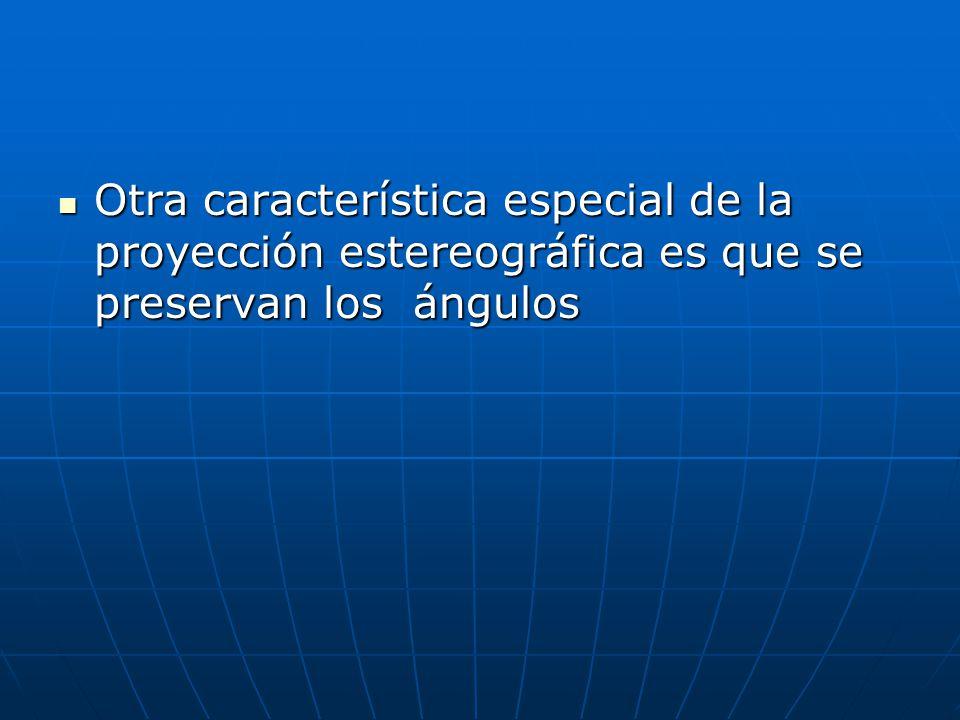 Otra característica especial de la proyección estereográfica es que se preservan los ángulos