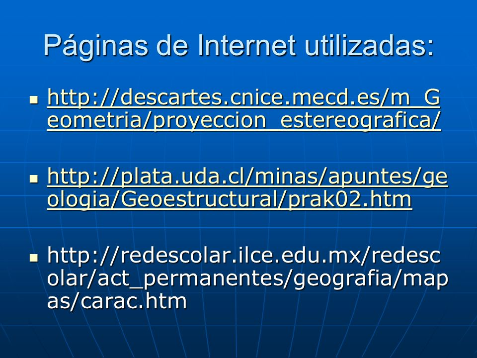 Páginas de Internet utilizadas: