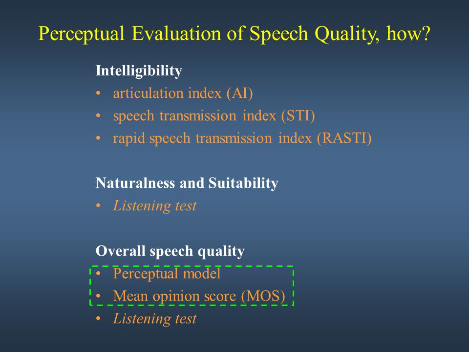 Perceptual Evaluation of Speech Quality, how