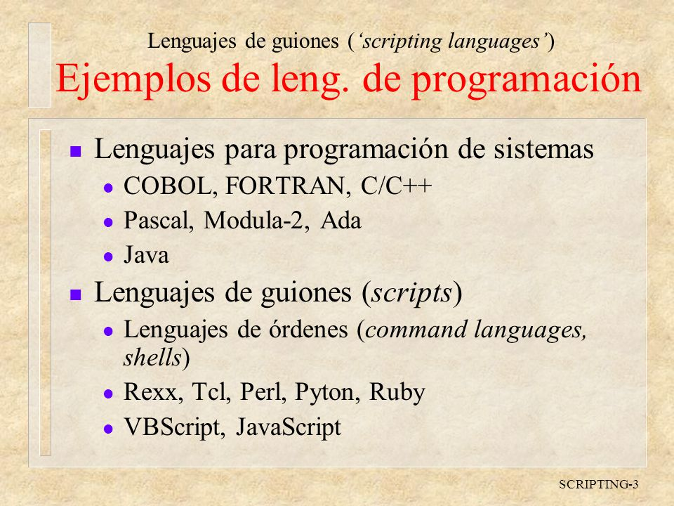 Ejemplos de leng. de programación