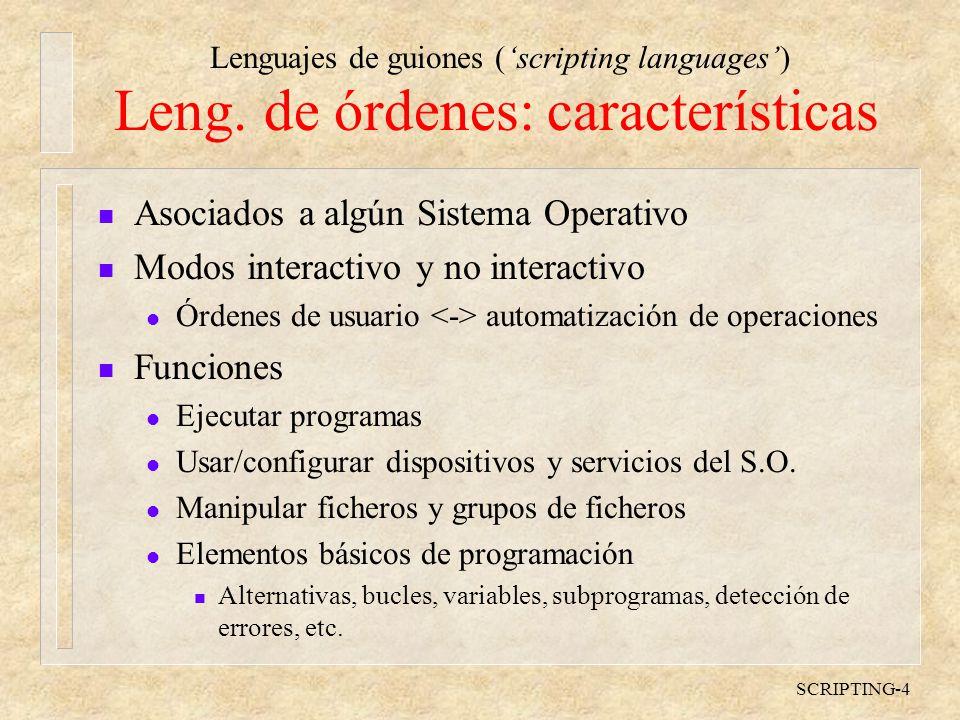 Leng. de órdenes: características