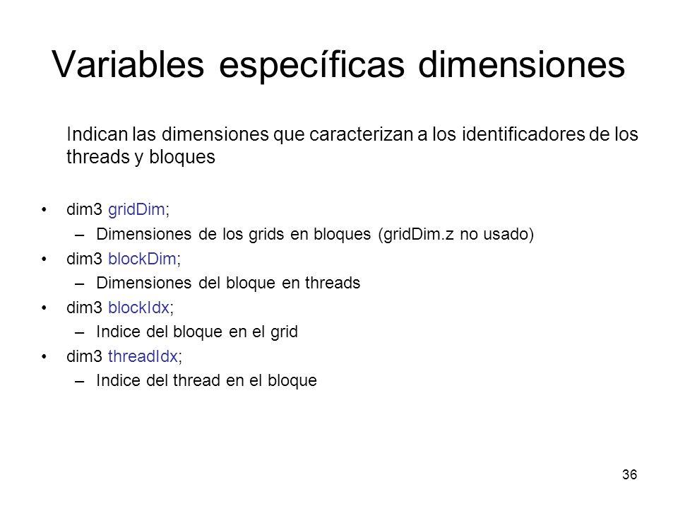 Variables específicas dimensiones