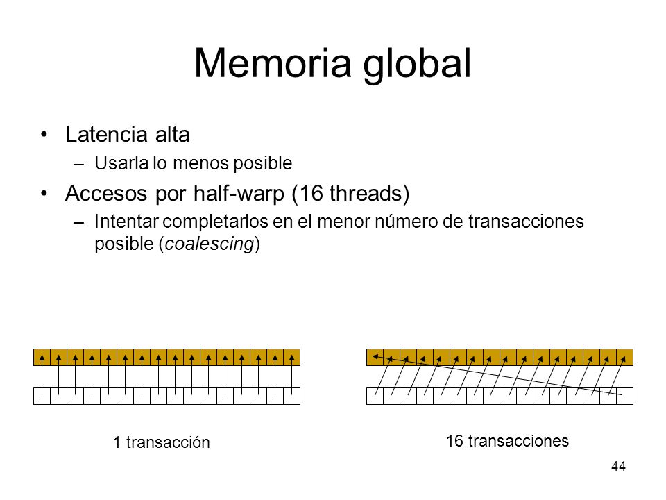 Memoria global Latencia alta Accesos por half-warp (16 threads)