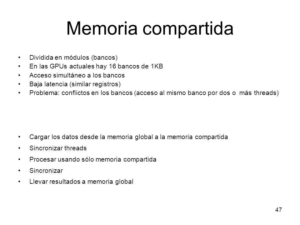 Memoria compartida Dividida en módulos (bancos)