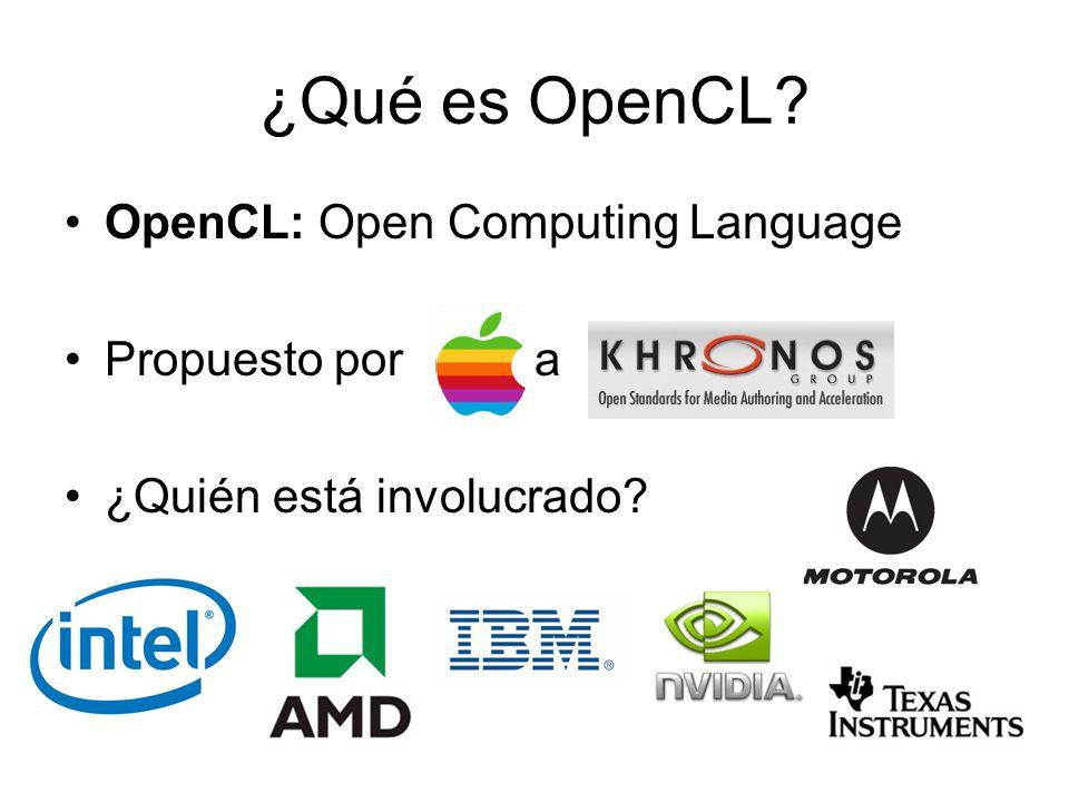 ¿Qué es OpenCL OpenCL: Open Computing Language Propuesto por a
