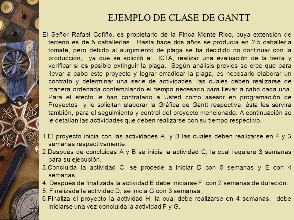 EJEMPLO DE CLASE DE GANTT