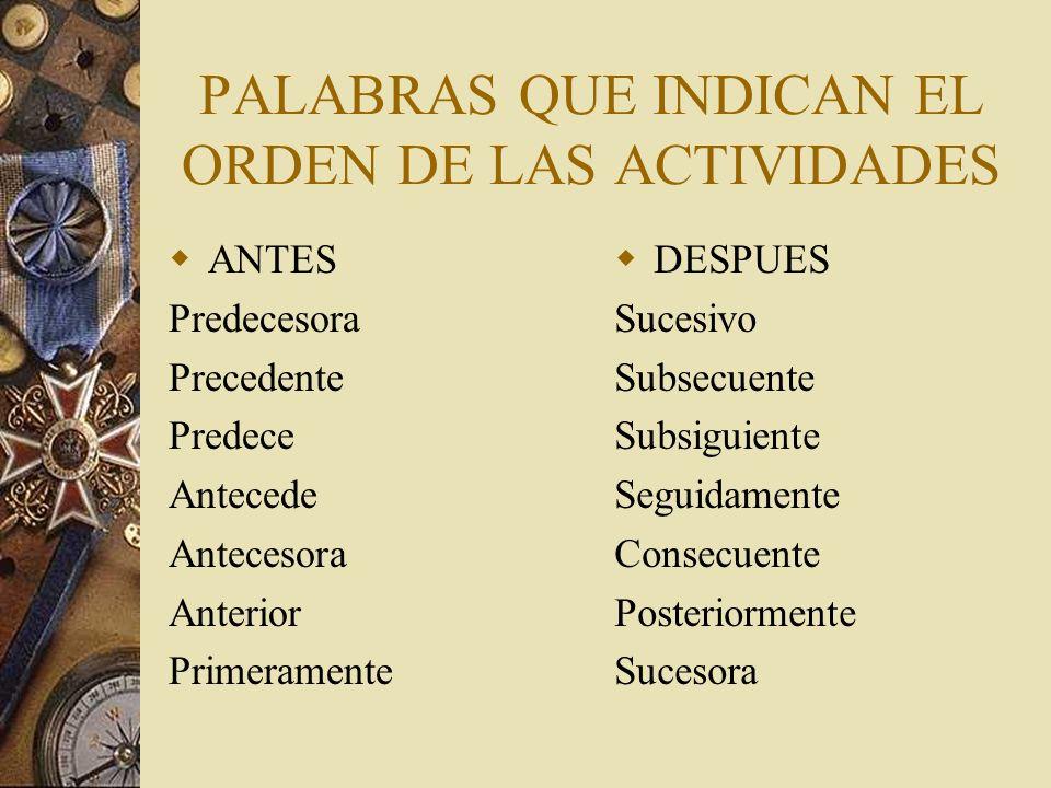PALABRAS QUE INDICAN EL ORDEN DE LAS ACTIVIDADES
