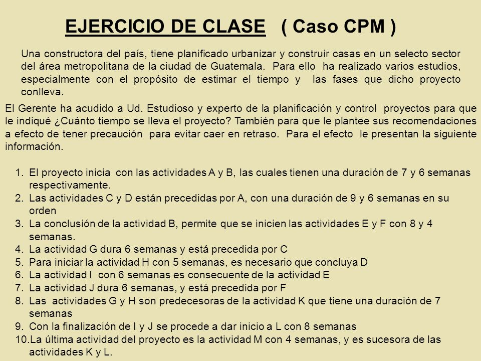 EJERCICIO DE CLASE ( Caso CPM )