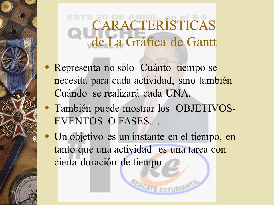 CARACTERÍSTICAS de La Gráfica de Gantt