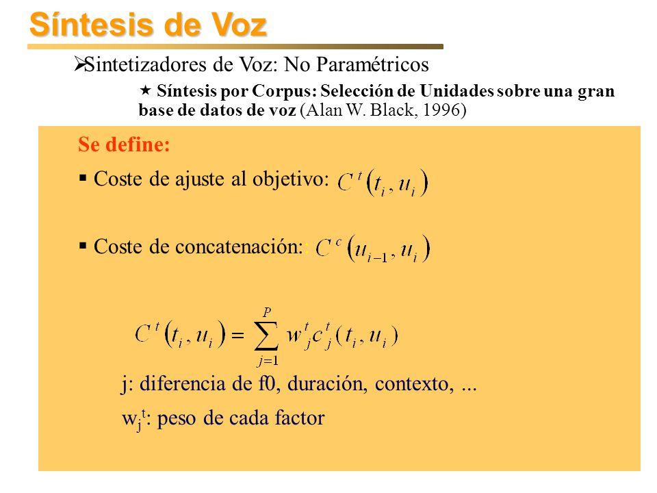Síntesis de Voz Sintetizadores de Voz: No Paramétricos Se define: