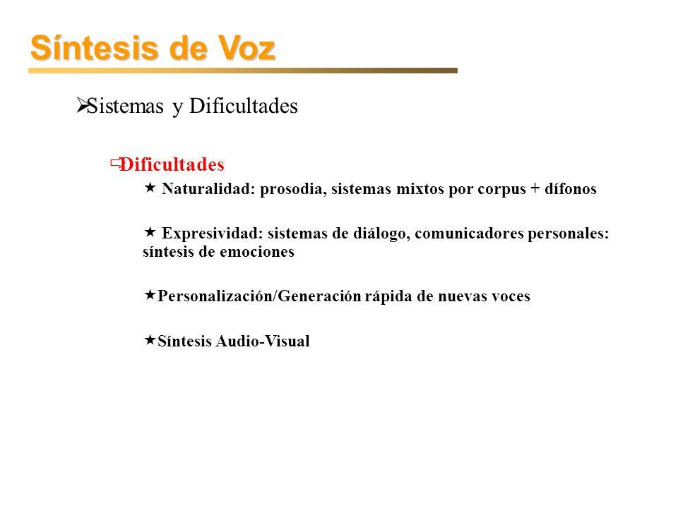 Síntesis de Voz Sistemas y Dificultades Dificultades