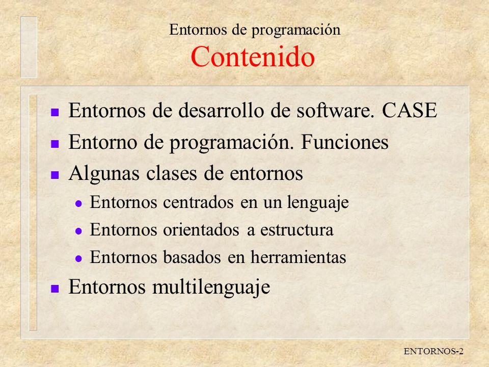Contenido Entornos de desarrollo de software. CASE