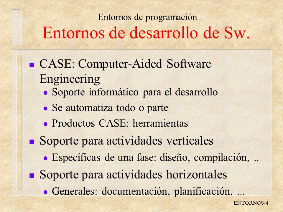 Entornos de desarrollo de Sw.