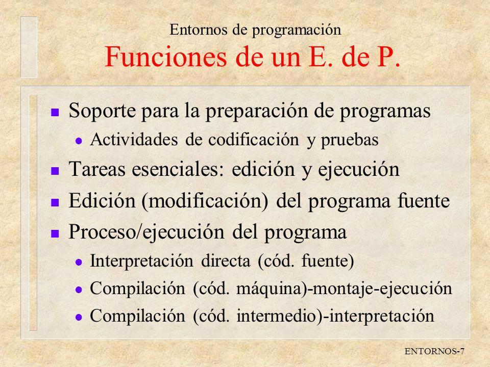 Funciones de un E. de P. Soporte para la preparación de programas