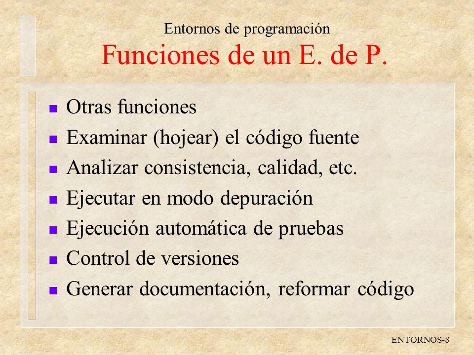 Funciones de un E. de P. Otras funciones