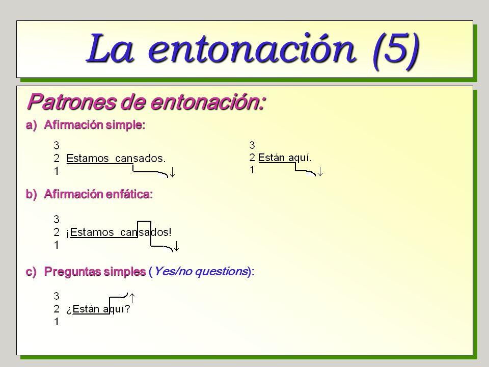 La entonación (5) Patrones de entonación: a) Afirmación simple: