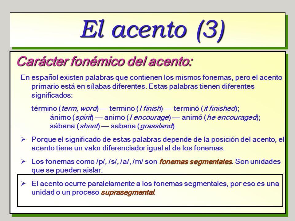 El acento (3) Carácter fonémico del acento: