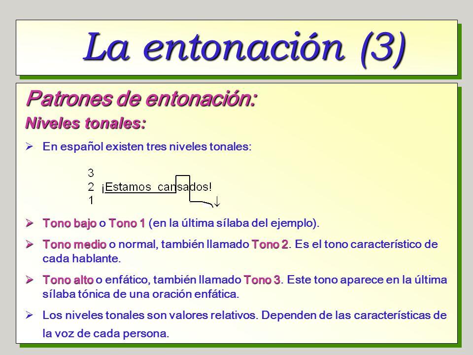 La entonación (3) Patrones de entonación: Niveles tonales: