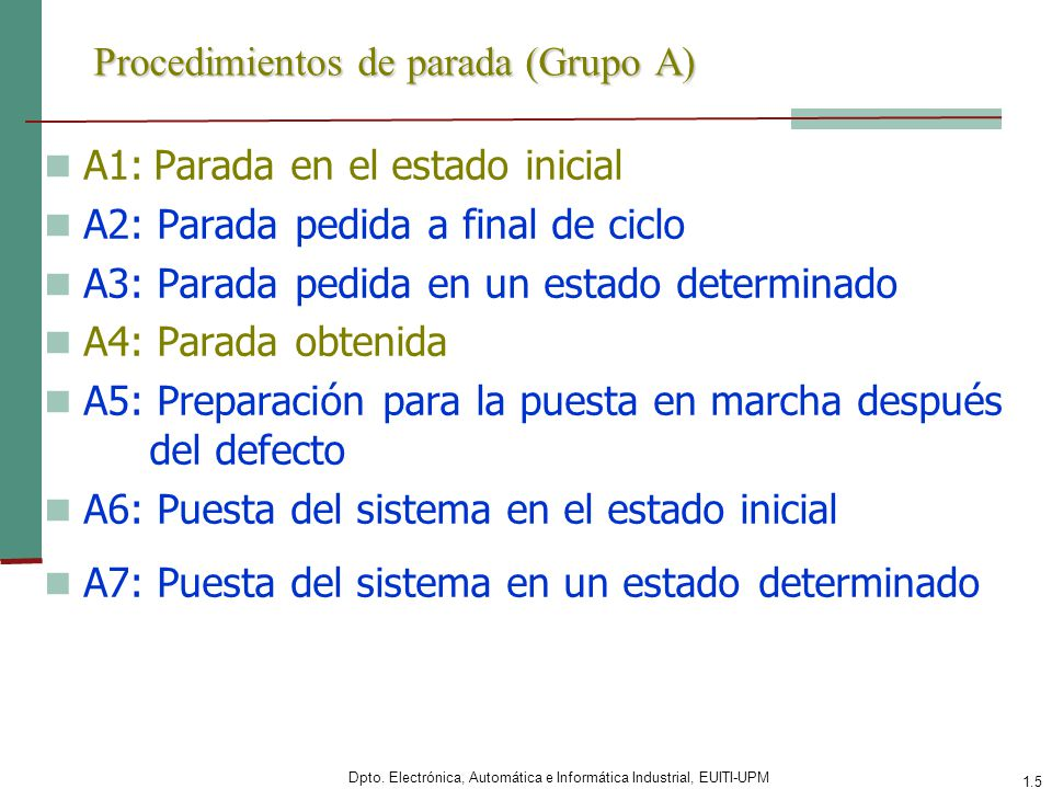 Procedimientos de parada (Grupo A)