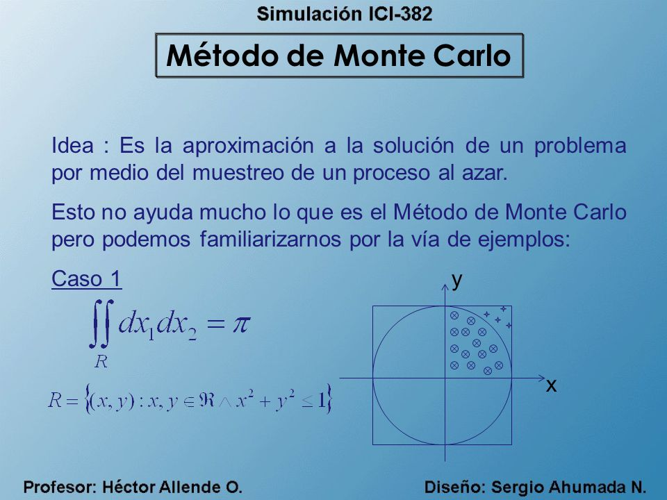 Método de Monte Carlo Idea : Es la aproximación a la solución de un problema por medio del muestreo de un proceso al azar.
