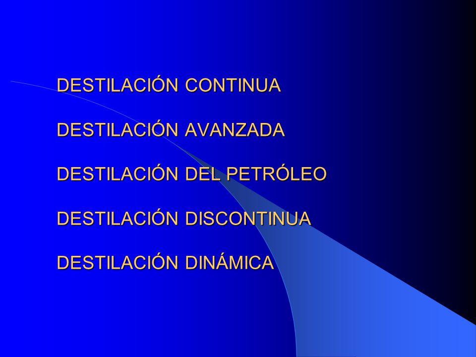 DESTILACIÓN CONTINUA DESTILACIÓN AVANZADA DESTILACIÓN DEL PETRÓLEO DESTILACIÓN DISCONTINUA DESTILACIÓN DINÁMICA