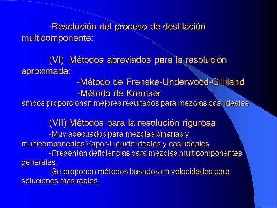 ·Resolución del proceso de destilación multicomponente: