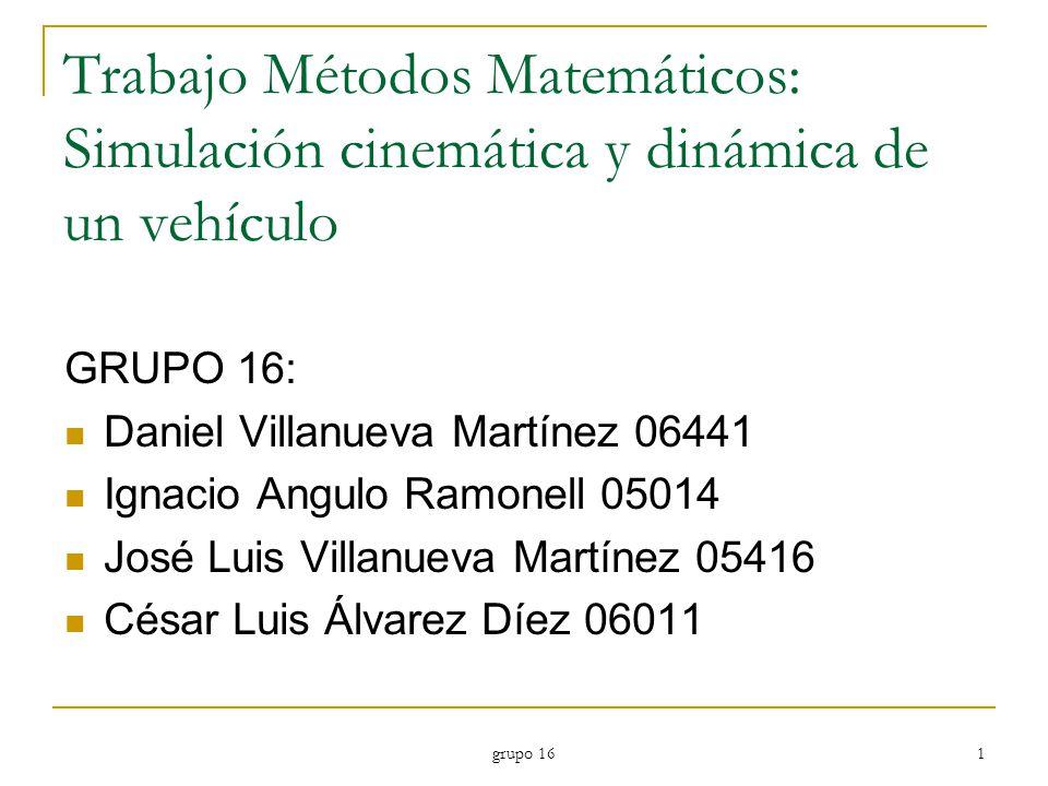 Trabajo Métodos Matemáticos: Simulación cinemática y dinámica de un vehículo
