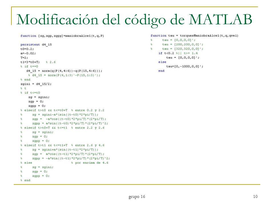 Modificación del código de MATLAB
