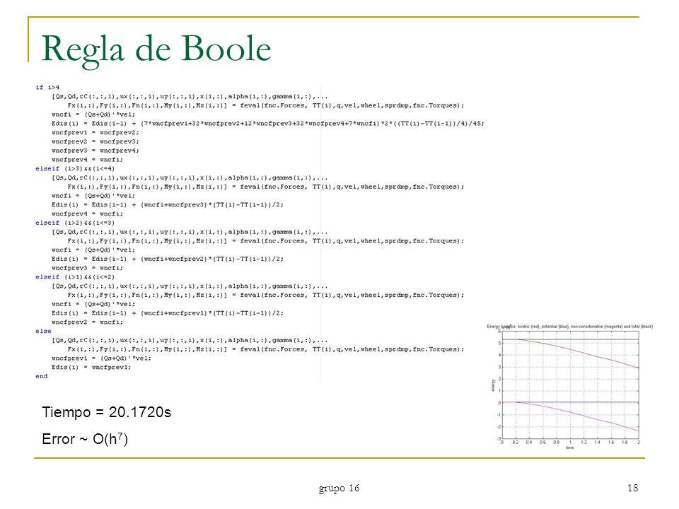 Regla de Boole Tiempo = 20.1720s Error ~ O(h7) grupo 16