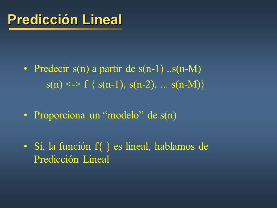 Predicción Lineal Predecir s(n) a partir de s(n-1) ..s(n-M)