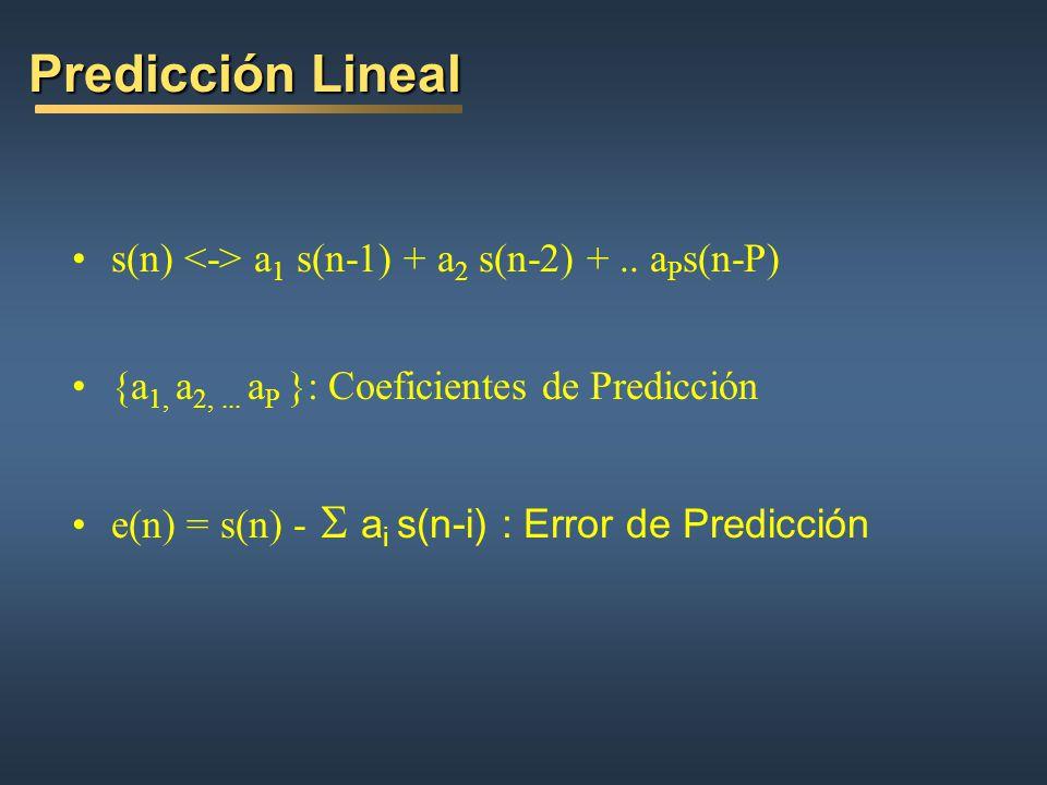 Predicción Lineal s(n) <-> a1 s(n-1) + a2 s(n-2) + .. aPs(n-P)