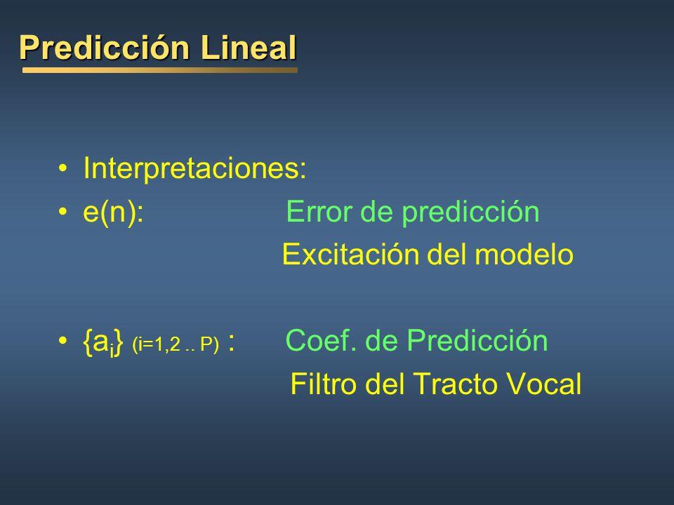 Predicción Lineal Interpretaciones: e(n): Error de predicción