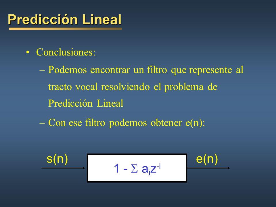 Predicción Lineal s(n) e(n) 1 - S aiz-i Conclusiones: