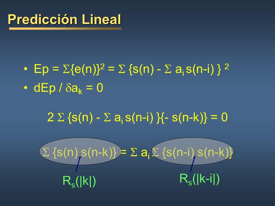 Predicción Lineal Ep = S{e(n)}2 = S {s(n) - S ai s(n-i) } 2