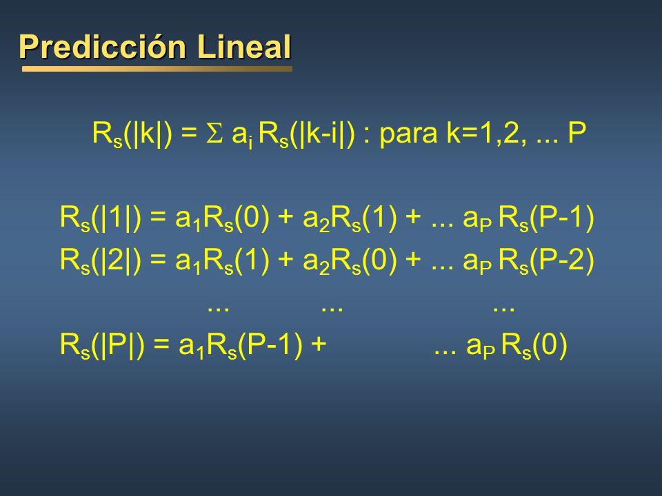 Predicción Lineal Rs(|k|) = S ai Rs(|k-i|) : para k=1,2, ... P