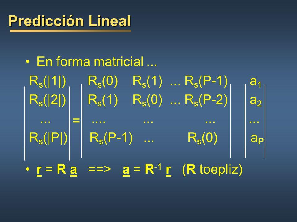 Predicción Lineal En forma matricial ...
