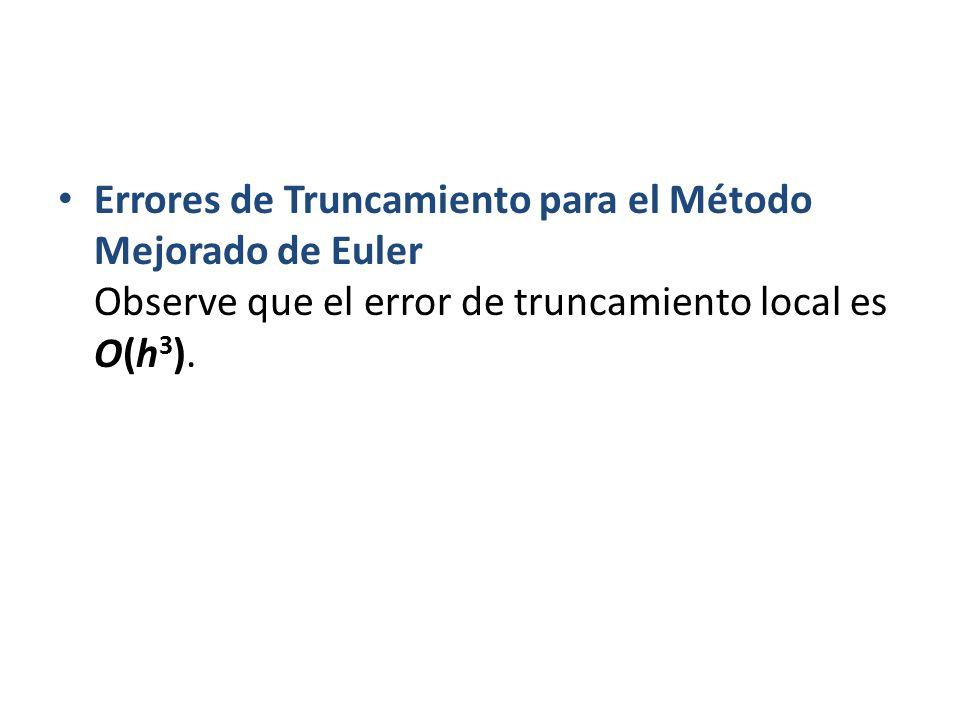 Errores de Truncamiento para el Método Mejorado de Euler Observe que el error de truncamiento local es O(h3).