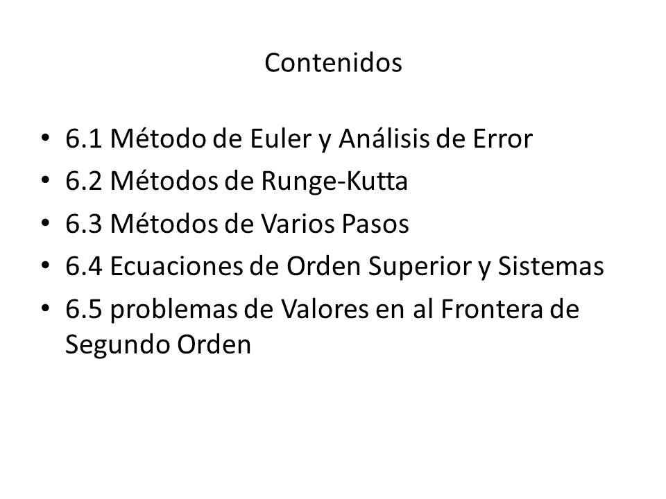 Contenidos 6.1 Método de Euler y Análisis de Error. 6.2 Métodos de Runge-Kutta. 6.3 Métodos de Varios Pasos.