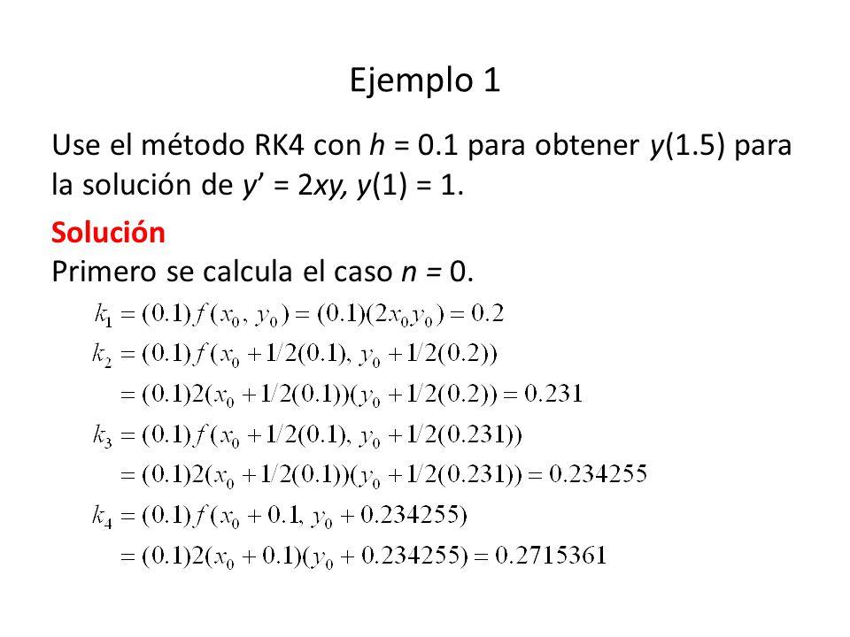 Ejemplo 1 Use el método RK4 con h = 0.1 para obtener y(1.5) para la solución de y' = 2xy, y(1) = 1.