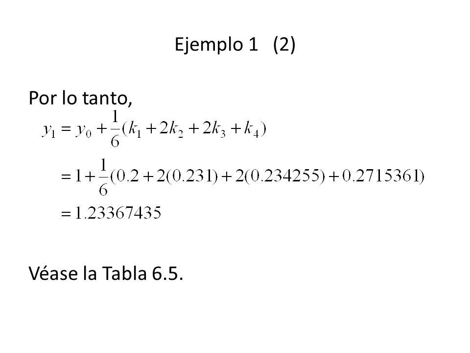 Ejemplo 1 (2) Por lo tanto, Véase la Tabla 6.5.