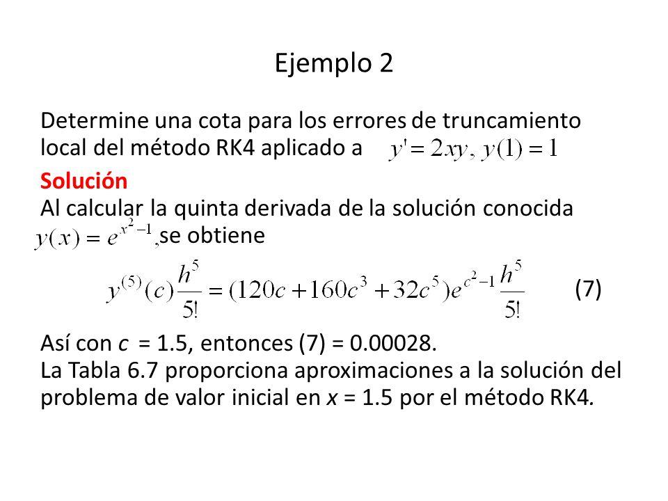 Ejemplo 2 Determine una cota para los errores de truncamiento local del método RK4 aplicado a.