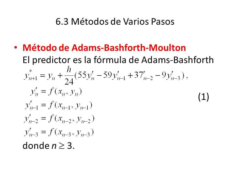 6.3 Métodos de Varios Pasos