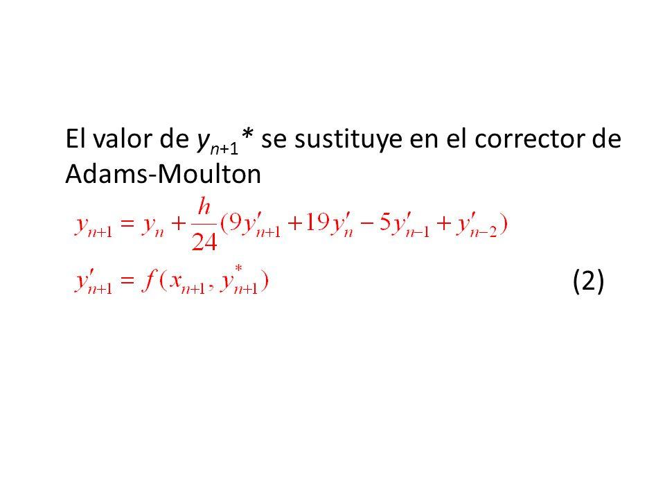 El valor de yn+1* se sustituye en el corrector de Adams-Moulton (2)