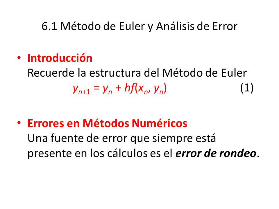 6.1 Método de Euler y Análisis de Error
