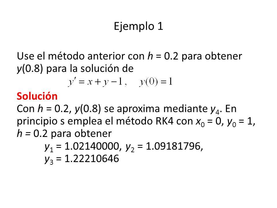 Ejemplo 1 Use el método anterior con h = 0.2 para obtener y(0.8) para la solución de.