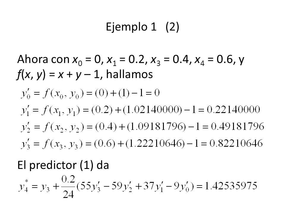 Ejemplo 1 (2) Ahora con x0 = 0, x1 = 0.2, x3 = 0.4, x4 = 0.6, y f(x, y) = x + y – 1, hallamos El predictor (1) da.